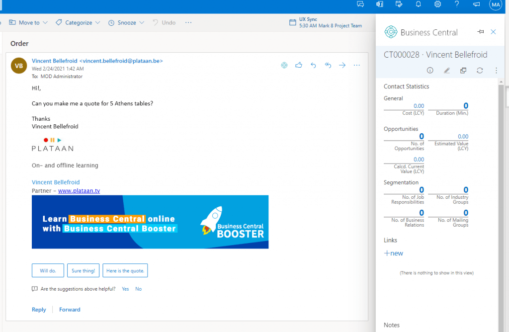 email contact insight in outlook integration for Business Central