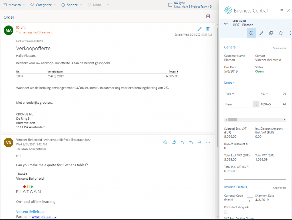 email contact insight process quote in outlook integration for Business Central