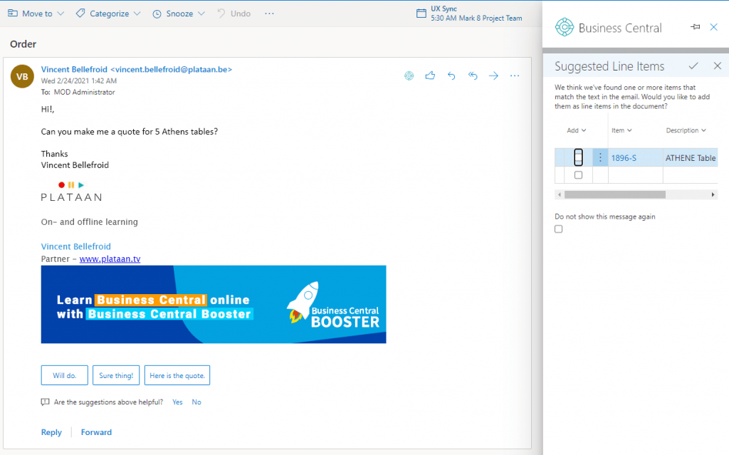 email contact insight process suggest in outlook integration for Business Central