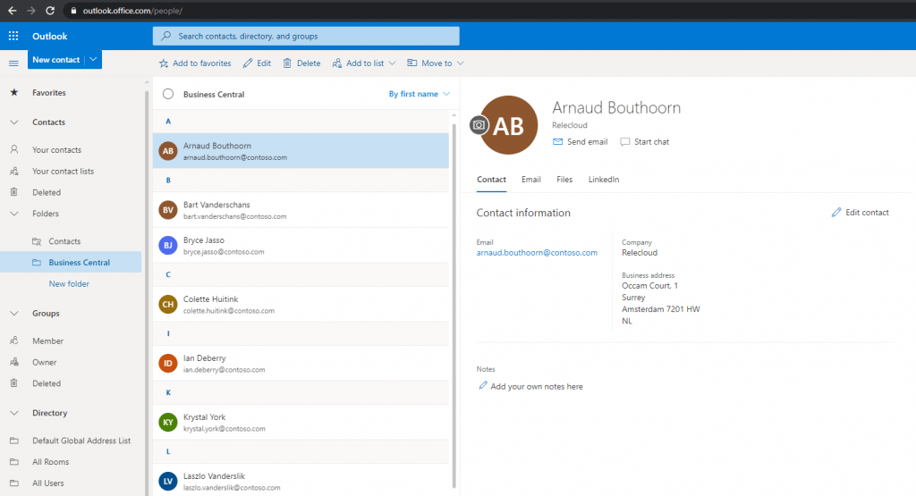SyncronizeContacts in outlook integration for Business Central